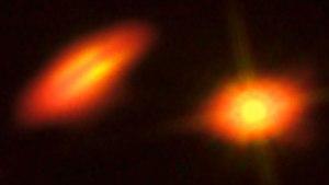 Composición de observaciones con Hubble y ALMA del sistema HK Tau.