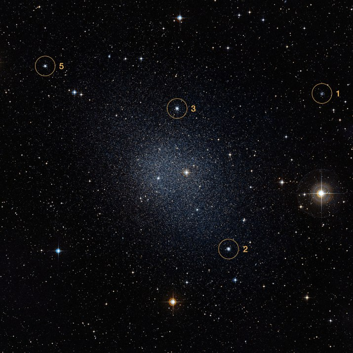 Fornax galaxy with four globular clusters marked