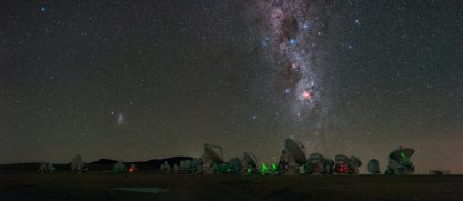 Antennas of the Atacama Large Millimeter/submillimeter Array (ALMA), on the Chajnantor Plateau, 5000m above sea level are seen in this UHD panorama. The Milky Way can be seen to stretch high abovewith Eta Carinae Nebula,a bright emission nebula, shown giving off its fiery red glow. Taken during the ESO Ultra HD Expedition.