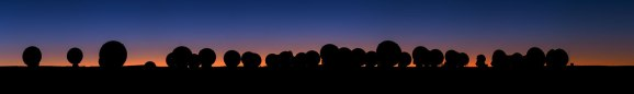 A panorama of ALMA at sunset. In the centre, the Moon can be seen. This image was taken during the ESO Ultra HD Expedition.
